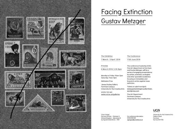 UNTIL 5 APR | FACING EXTINCTION: GUSTAV METZGER at James Hockey & Foyer Galleries UCA Farnham
